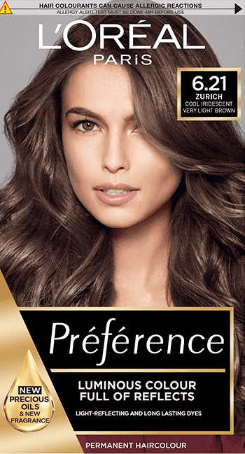 Preference 6 21 Zurich Cool Iridescent Very Light Brown Permanent Hair Dye Hair Colour L Oreal Paris